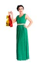 Attractive woman holding bags Royalty Free Stock Photography