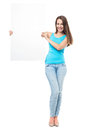 Attractive woman holding blank poster young over white background Royalty Free Stock Photography