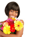 Attractive woman holding in hands beautiful gerbera bouquet isolated on white background happiness concept Stock Photos