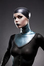 Attractive woman in latex neck corset Royalty Free Stock Photos
