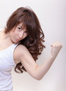 Attractive woman making a fist Stock Photography