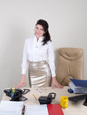 Attractive woman meet visitors affable secretary meeting in the office Royalty Free Stock Images