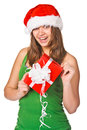Attractive woman with nice gift Royalty Free Stock Image