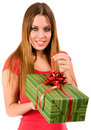 Attractive woman open gift Stock Photo