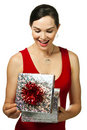 Attractive woman opening gift box Royalty Free Stock Photo