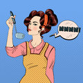 Attractive Woman in Pop Art Style Cooking in the Kitchen