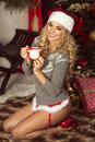 Attractive woman posing christmas sexy beautiful blonde in santa claus costume at home time Royalty Free Stock Photography