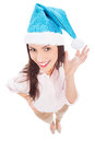 Attractive woman in Santa hat Royalty Free Stock Photo