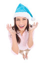 Attractive woman in Santa hat Royalty Free Stock Image