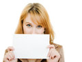 Attractive  woman showing blank signboard Royalty Free Stock Photo