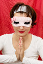 Attractive woman in sleep mask praying caucasian sleeping Stock Images