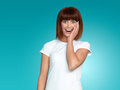 Attractive woman surprised face expression Royalty Free Stock Images