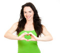 Attractive woman symboling love heart Stock Photos