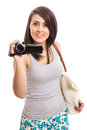 Attractive woman with video recorder Royalty Free Stock Photo