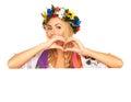 Attractive Woman Wears Ukraini...