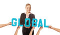 Attractive woman with the word GLOBAL Stock Images