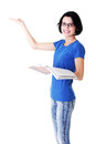 Attractive woman with workbook side view pointing on copy spac space isolated white Stock Photos