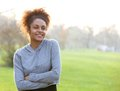 Attractive young african american woman outdoors Royalty Free Stock Photo