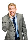 Attractive young businessman man shouting isolated Royalty Free Stock Photos