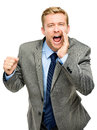 Attractive young businessman man shouting isolated on white ba Royalty Free Stock Image
