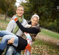 Attractive young couple having fun outdoors Royalty Free Stock Images