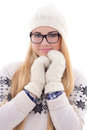 Attractive young cute woman in eyeglasses with long hair in warm winter clothes isolated on white background Stock Photography