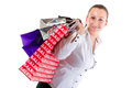 Attractive young female with shopping bags Stock Images