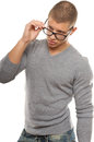 Attractive young man with eyeglasses Stock Photography