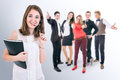 Attractive young people portrait happy students group Royalty Free Stock Image