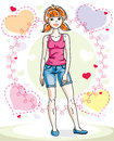 Attractive young red-haired woman adult standing on colorful bac Royalty Free Stock Photo