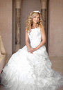 Attractive young smiling bride woman in wedding dress. Beautiful Royalty Free Stock Photo