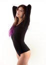 Attractive Young Woman in Black Leotard Royalty Free Stock Photography