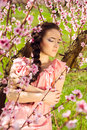 Attractive young woman with blossoms in hair beautiful girl blossomy peach garden flowers braid elegantly touching her shoulders Stock Image