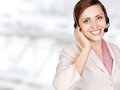 Attractive young woman call center operator Royalty Free Stock Photo
