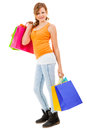 Attractive young woman with colorful shopping bags isolated Stock Images
