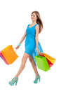 Attractive young woman with colorful shopping bags isolated on white background Royalty Free Stock Image