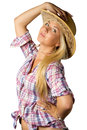 Attractive young woman in cowboy dress and hat Royalty Free Stock Photo