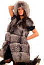Attractive young woman in expensive fur coat Royalty Free Stock Photography