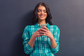 Attractive young woman with gadget Royalty Free Stock Photo