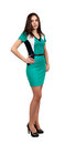 Attractive Young Woman in Green Dress Stock Images