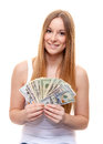 Attractive young woman holding dollar notes all on white background Royalty Free Stock Photos