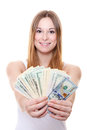 Attractive young woman holding us dollar notes all on white background Stock Photography