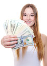 Attractive young woman holding us dollar notes all on white background Royalty Free Stock Photos
