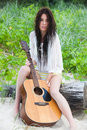 Attractive Young Woman Outdoors With Guitar Stock Images