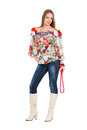 Attractive young woman posing in flowery blouse and jeans isolated on white Stock Image