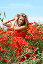 Attractive young woman in red dress Royalty Free Stock Image