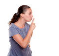 Attractive young woman requesting silence Stock Photography