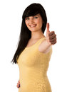Attractive young woman showing ok sign with thumb up isolated Royalty Free Stock Photo