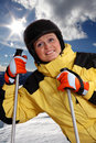 Attractive young woman skiing Royalty Free Stock Image