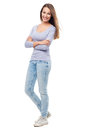 Attractive young woman standing full body of a casual Royalty Free Stock Photo